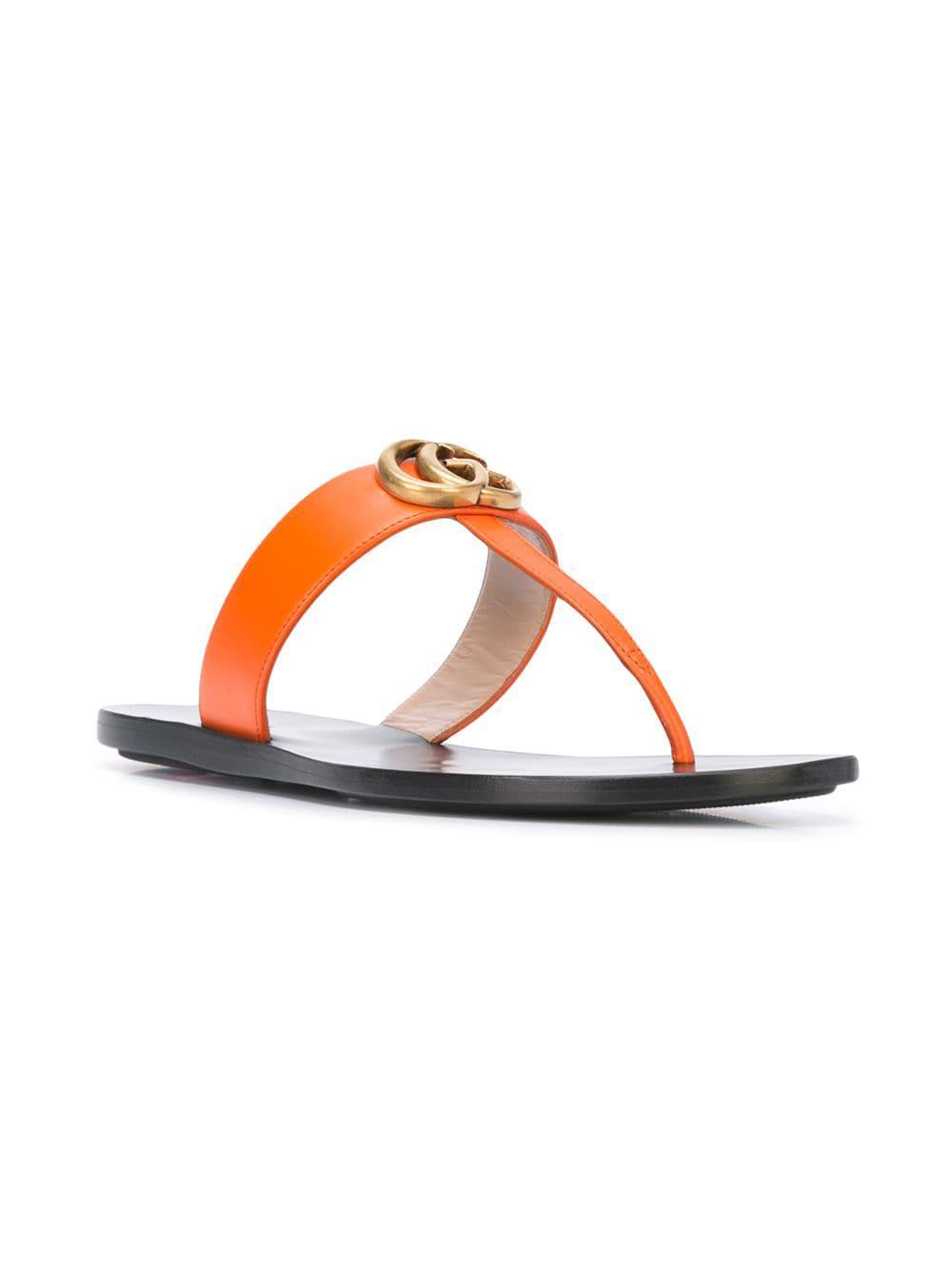 4046f3b2557bc0 Gucci T-strap Sandals in Yellow - Lyst