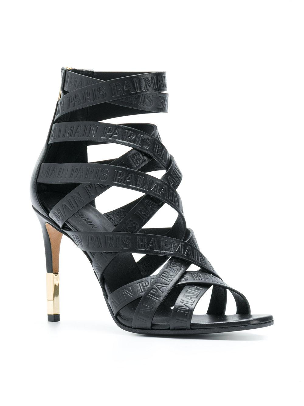 44fb54bc72ff Balmain Strappy Ankle Sandals in Black - Save 15% - Lyst
