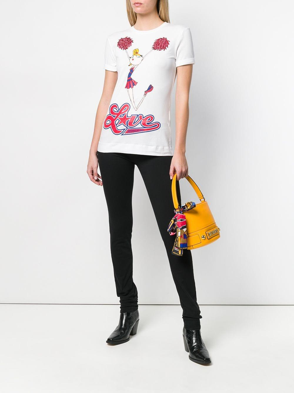 b4ec9d54af0 Lyst - Love Moschino Printed Cheerleader T-shirt in White