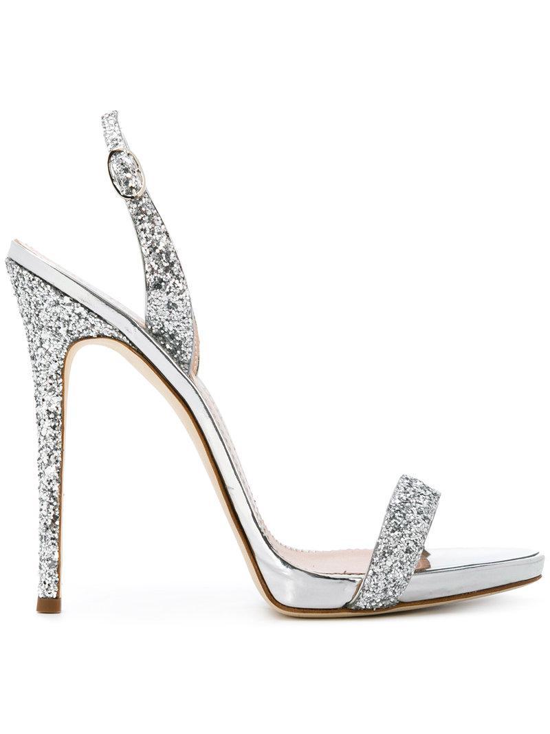 242b4abbc Giuseppe Zanotti Sofia Glitter Sandals in Metallic - Lyst