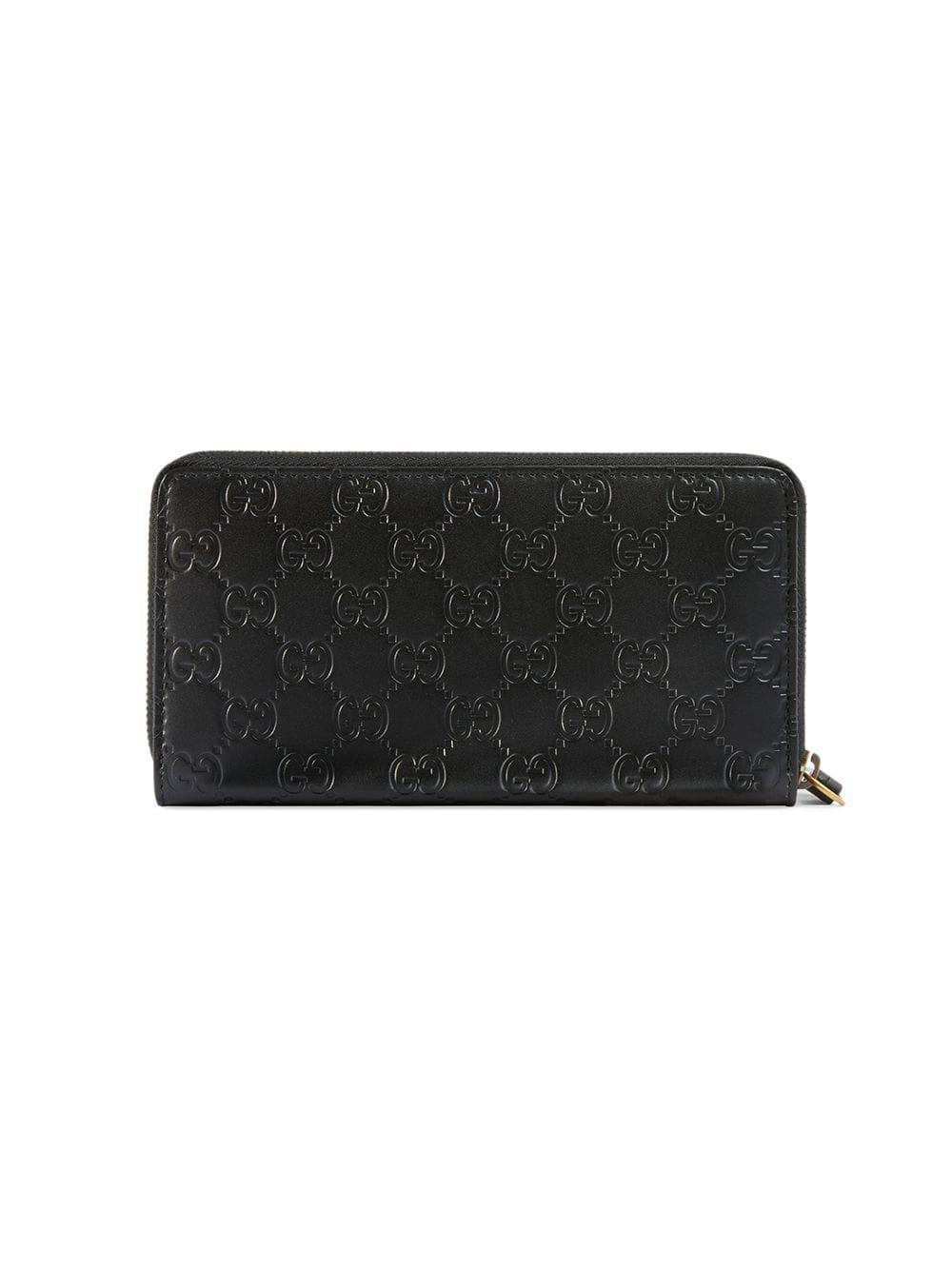 47a0950ad5a Lyst - Gucci Signature Zip Around Wallet With Cat in Black
