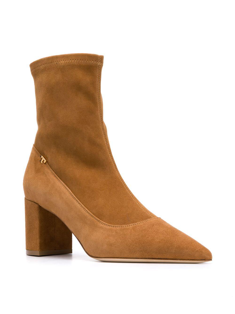 3b7bc5e7a36a Lyst - Tory Burch Pointed Ankle Boots in Brown