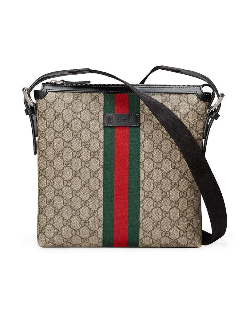 7c2ea0d3bf6 Gucci Web GG Supreme Messenger in Brown for Men - Lyst