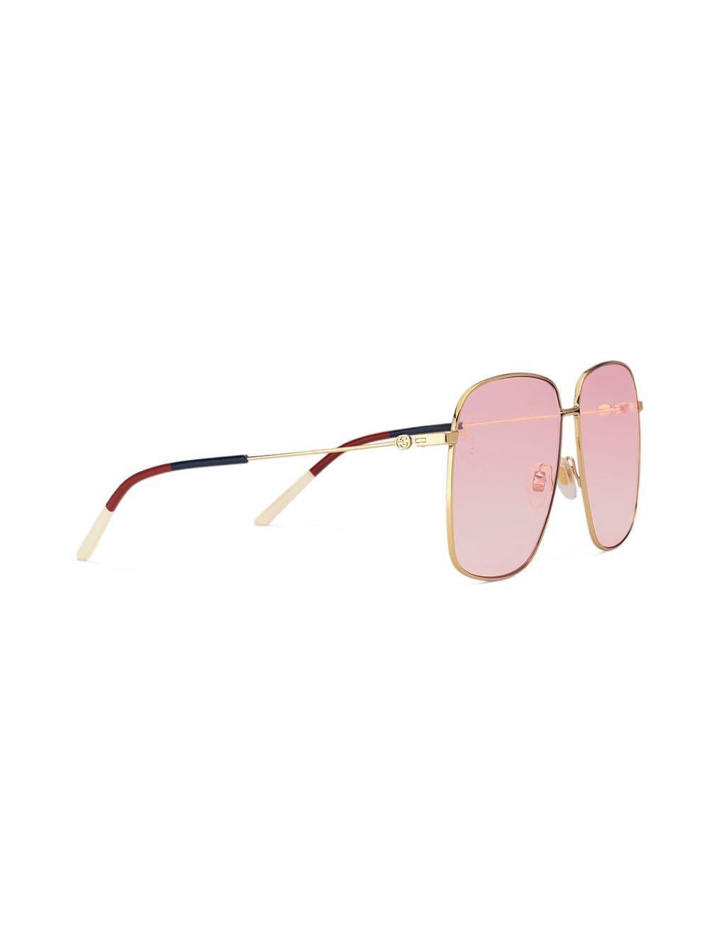 a7ccf4bd3a7 Gucci - Metallic Oversized Square-frame Sunglasses - Lyst. View fullscreen