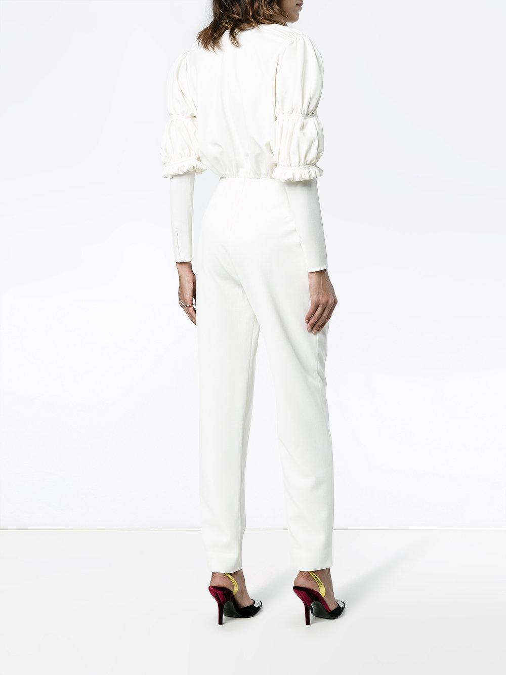 df9a6b61e21 Emilia Wickstead Barrett Jumpsuit in White - Save 25.104602510460253% - Lyst