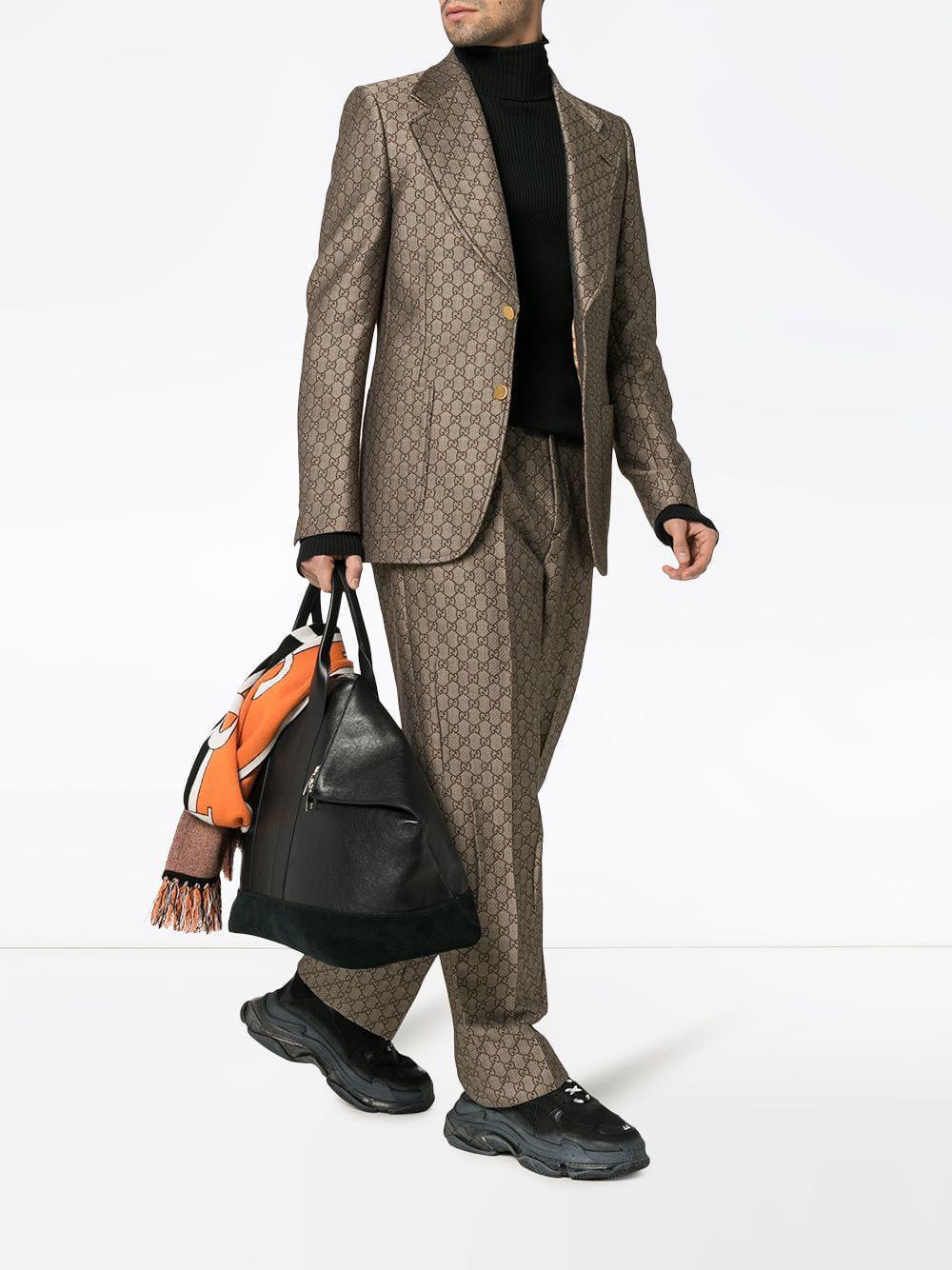 3c434cb5d Gucci GG Wool Blend Logo Blazer in Brown for Men - Lyst