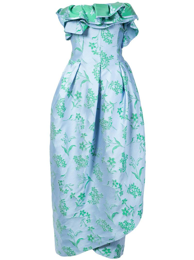 floral strapless petal gown - Blue Carolina Herrera BTa7ai7