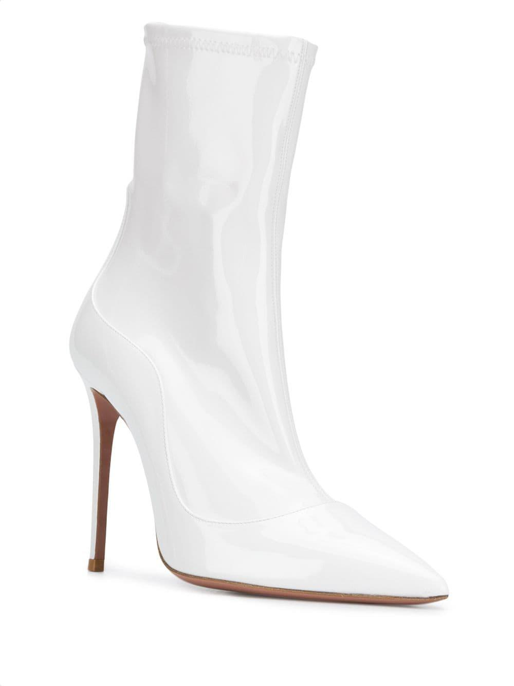 0a9060a3c3f Lyst - Aquazzura Varmished Pointed-toe Boots in White - Save 24%