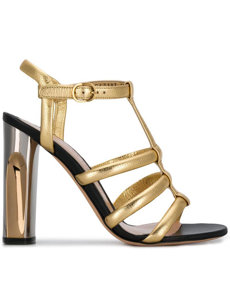 7c825bab621 Lyst - Alexander McQueen Sculpted Heel Sandals in Metallic