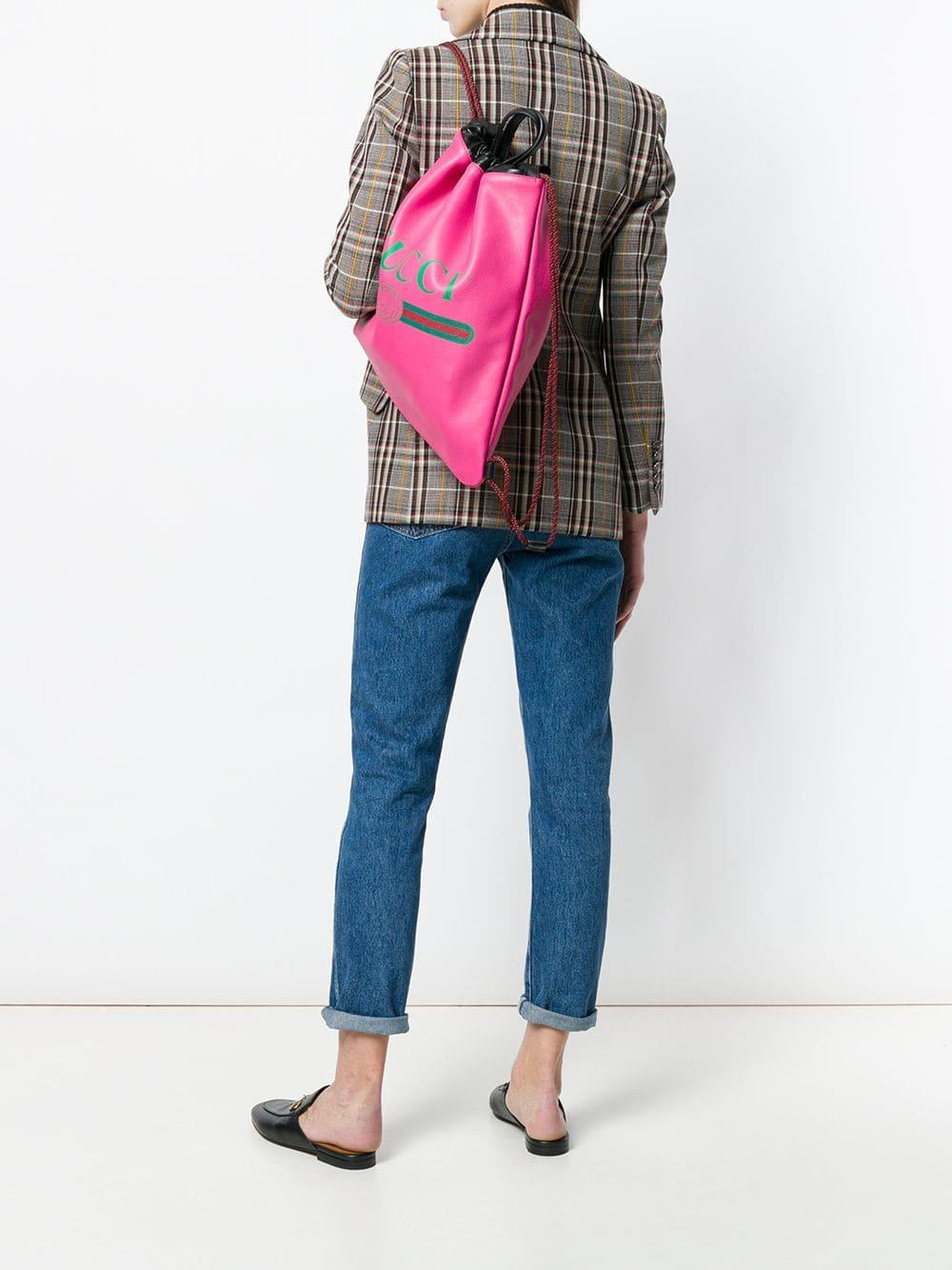 Lyst - Gucci Logo Printed Backpack in Pink de7ab53682