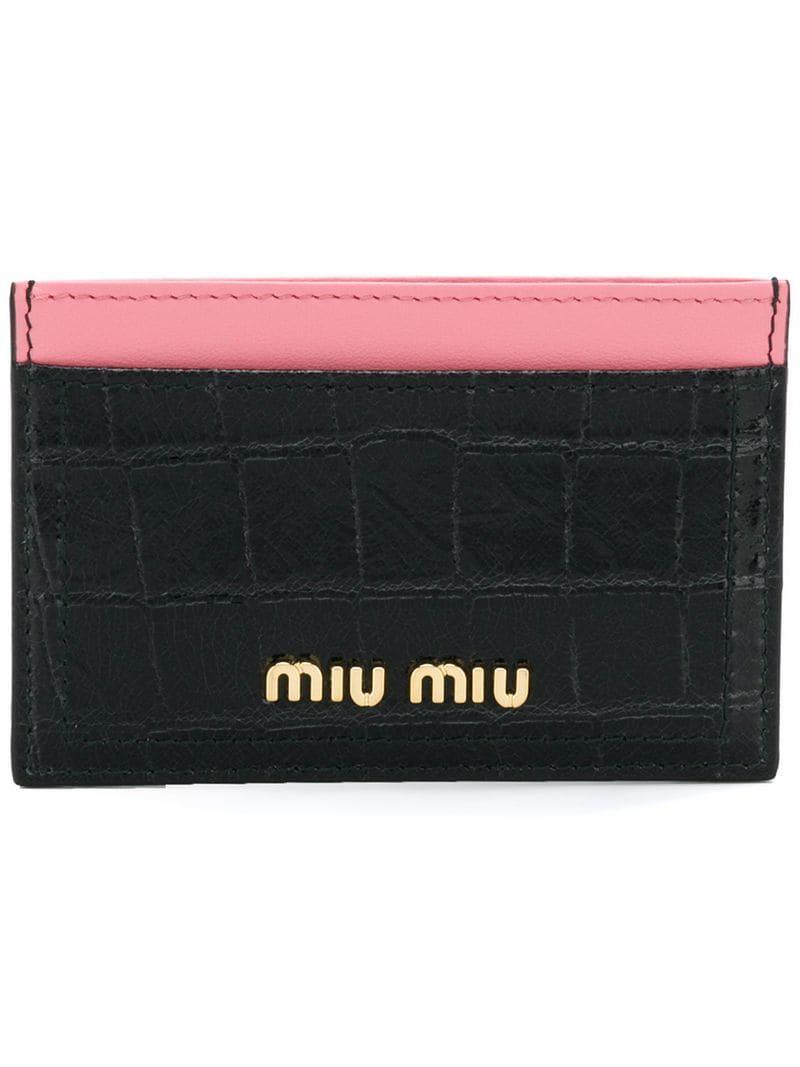 673663ef0ea5 Miu Miu Logo Card Holder in Black - Lyst