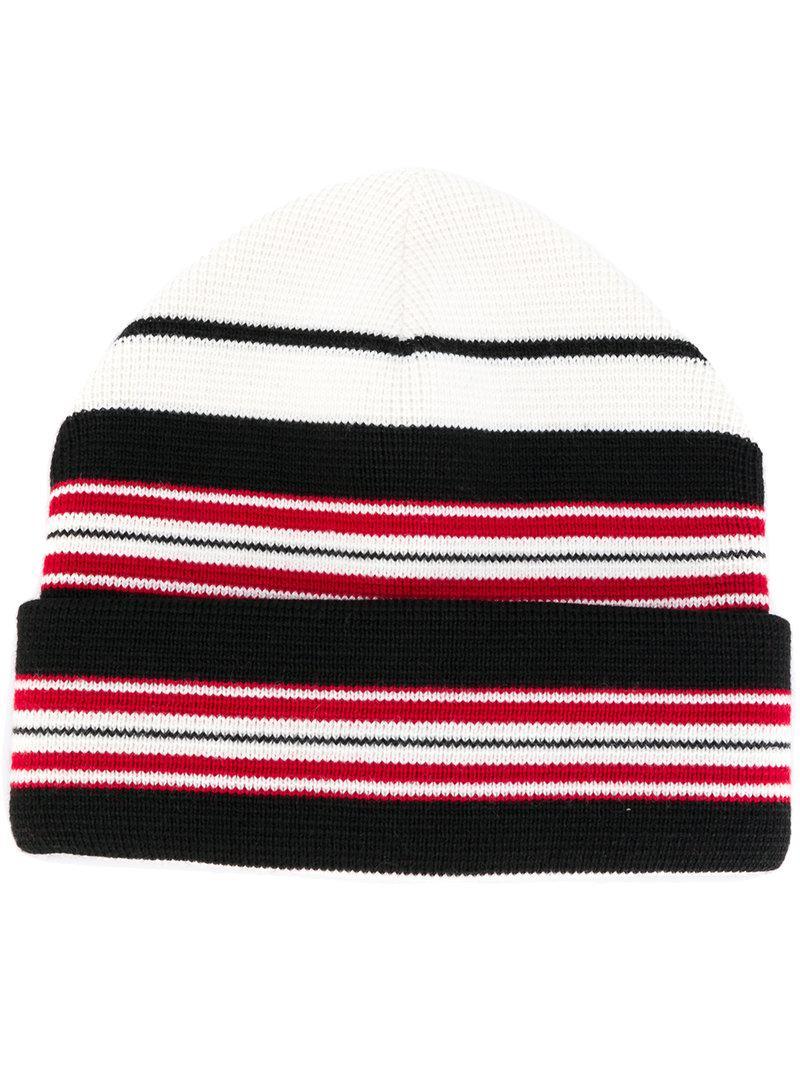 d5fc3f82635fb Moncler Grenoble Striped Beanie in Black for Men - Lyst