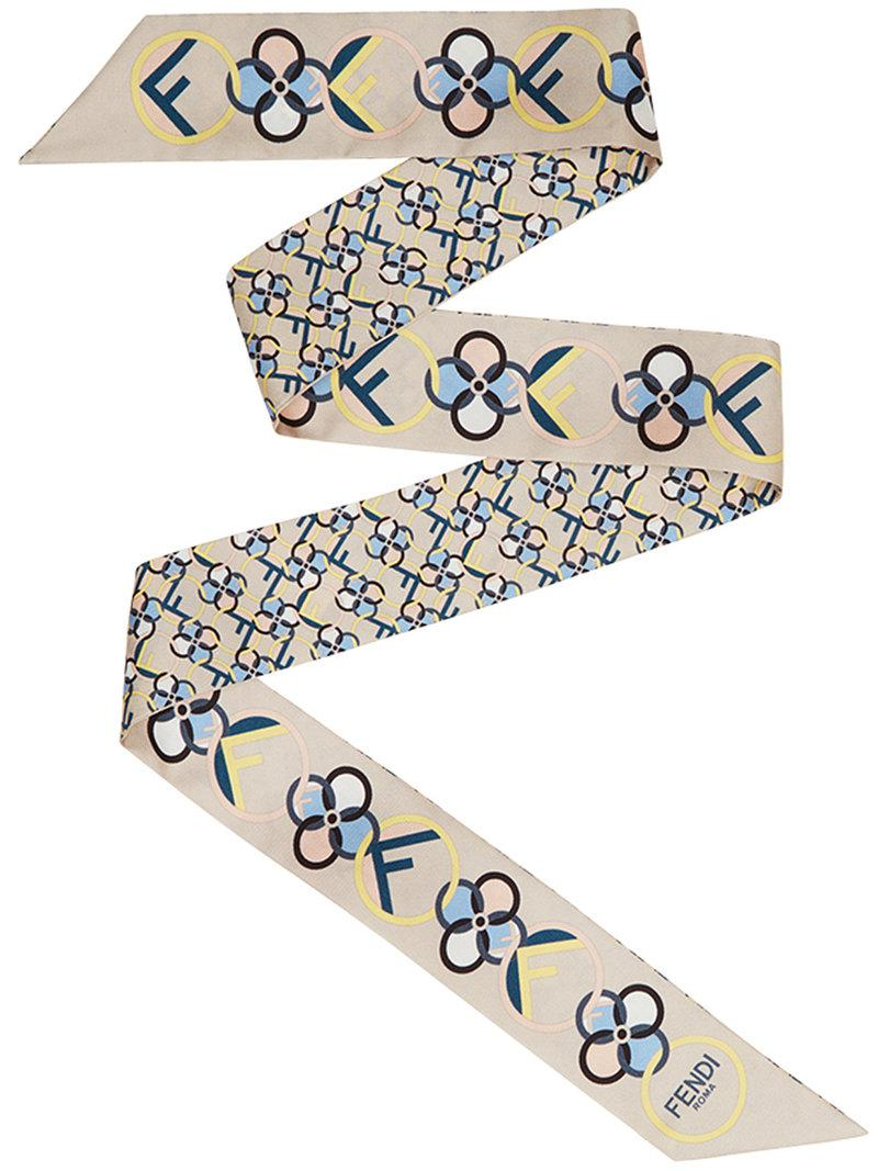 flowers printed wrappy - White Fendi 7PRF18Nmj