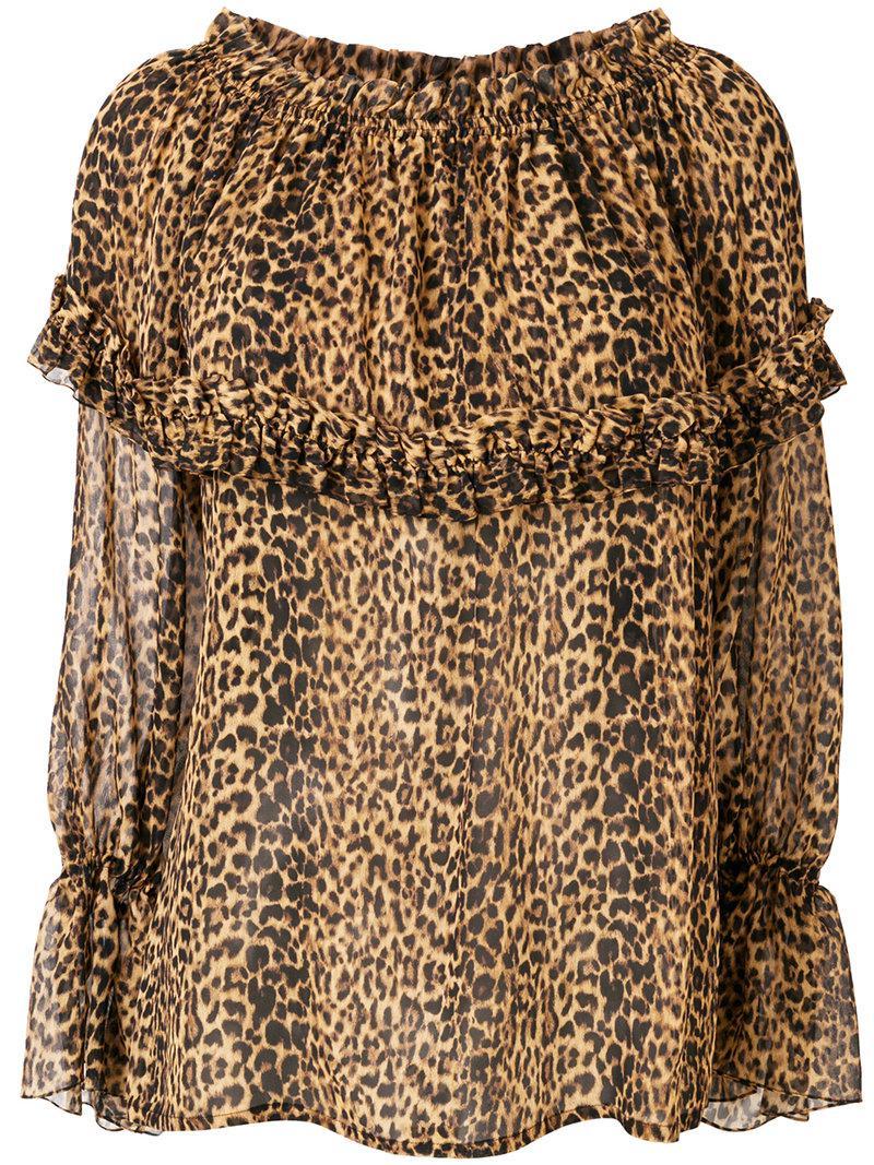 7b80e687 Saint Laurent Leopard Print Blouse in Brown - Lyst