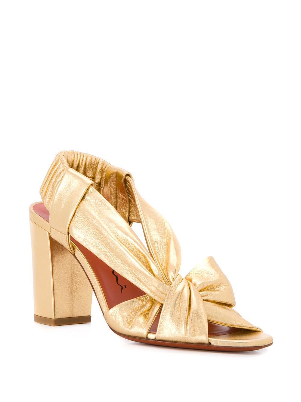 b5838d69f35 Lyst - Santoni Chunky Heel Knot Sandals in Metallic
