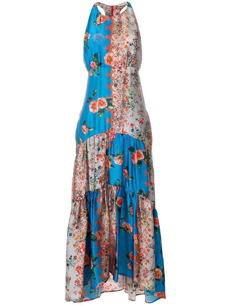 long printed dress - Blue Black Coral k9R7Q