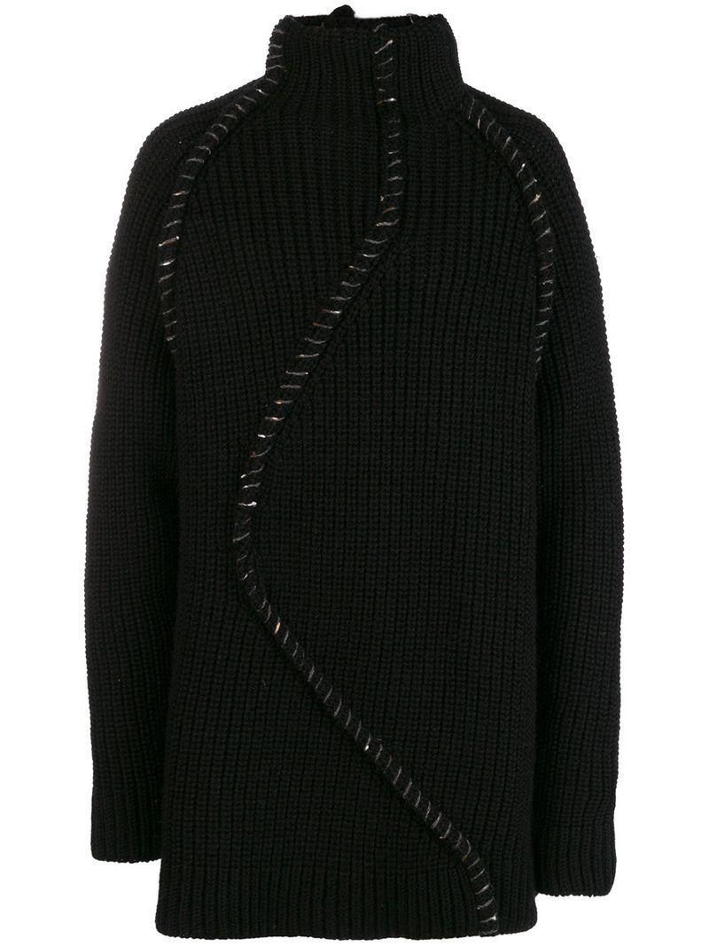 Lyst Yohji Yamamoto Stitched Chunky Turtleneck Sweater In Black
