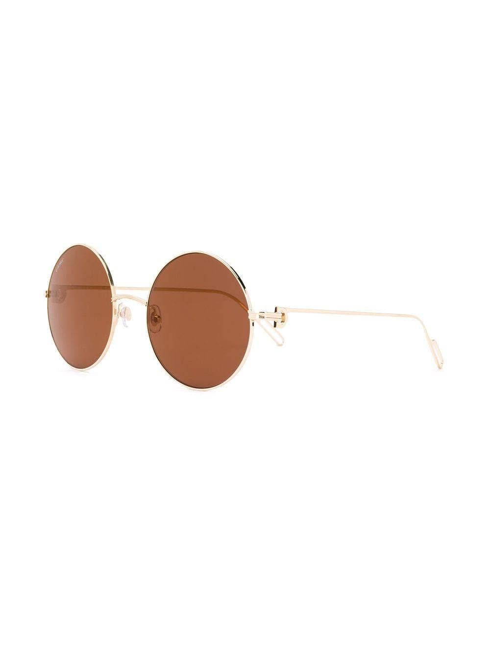 e9e91759fc Cartier - Metallic Round Frame Sunglasses - Lyst. View fullscreen
