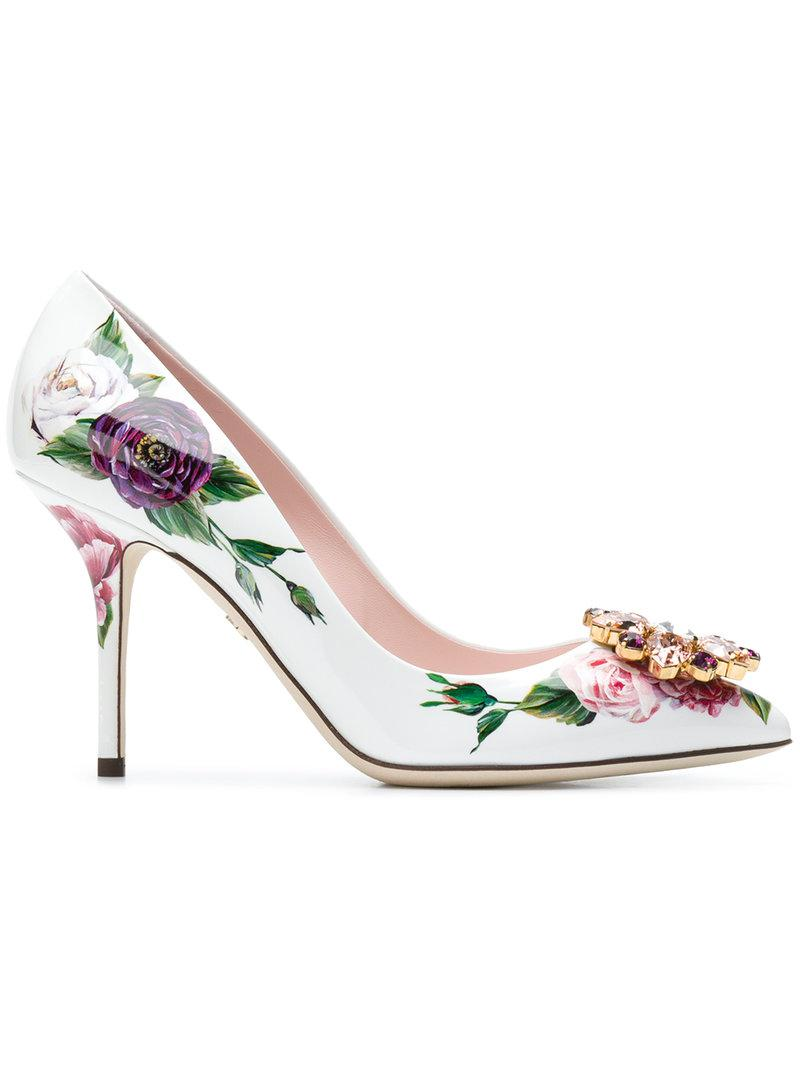 48be8eec5283 Lyst - Dolce   Gabbana Bellucci Peony Print Pumps in White