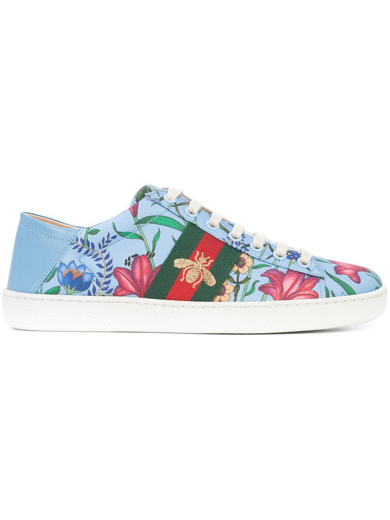 1e381cc5fd0 Lyst - Gucci Ace New Floral Print Sneakers in Blue