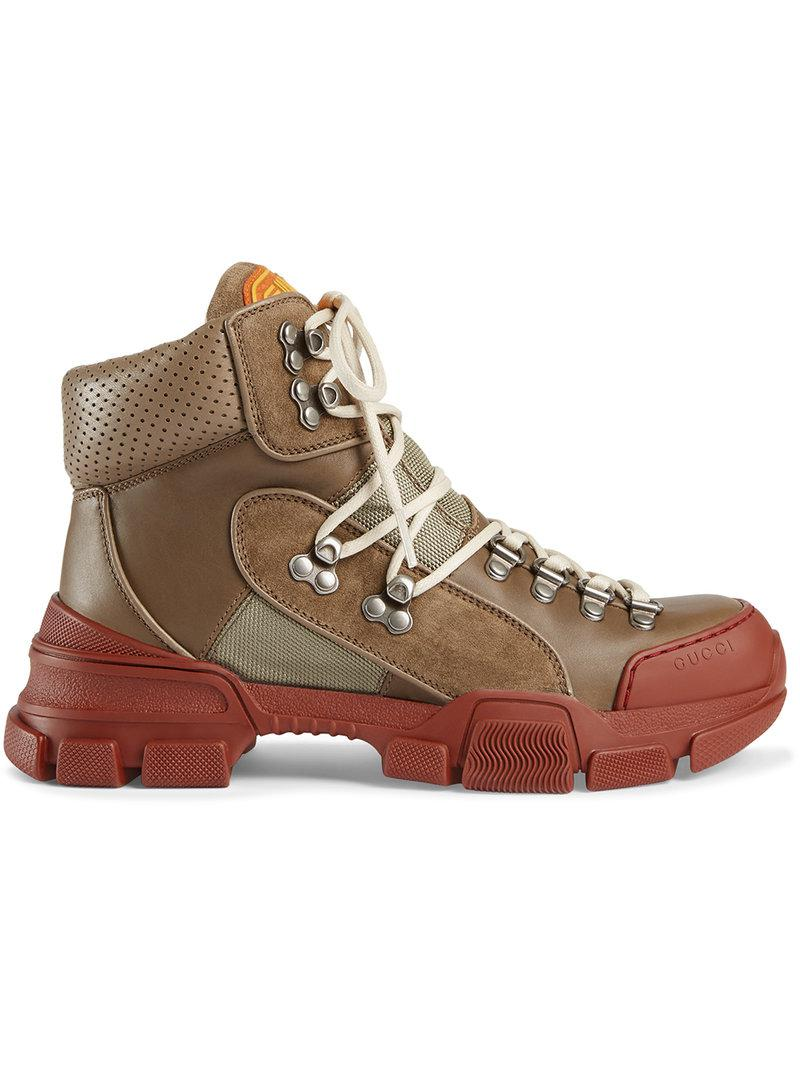 E9kSfunoBg Leather and canvas trekking boot 6MN4O