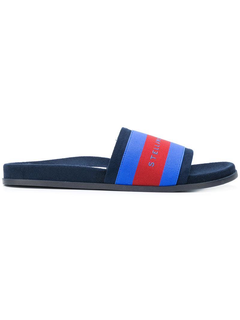 748ef869846 Lyst - Stella McCartney Striped Slides in Blue