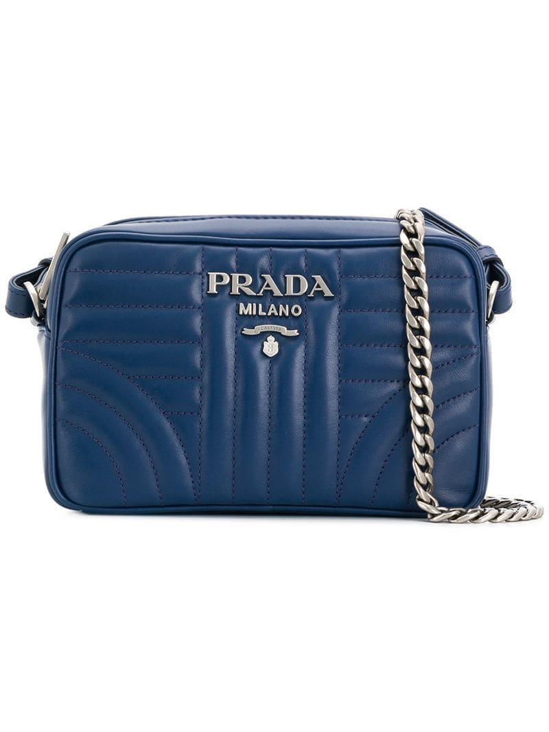 d6c4f54ea29bb9 Prada - Blue Diagramme Quilted Crossbody Bag - Lyst. View fullscreen