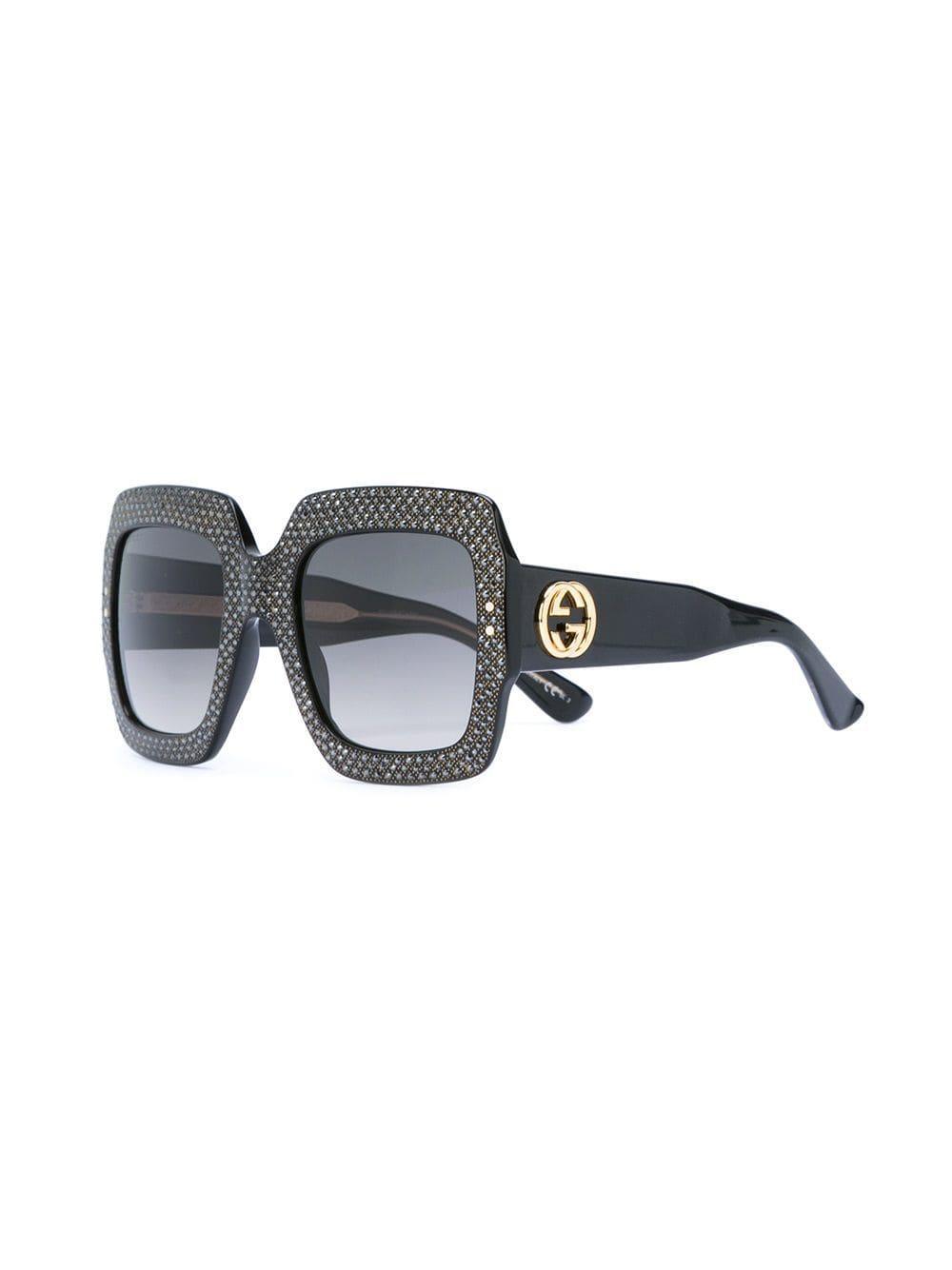 bb443ecd17f Gucci Embellished Frame Sunglasses in Black - Lyst