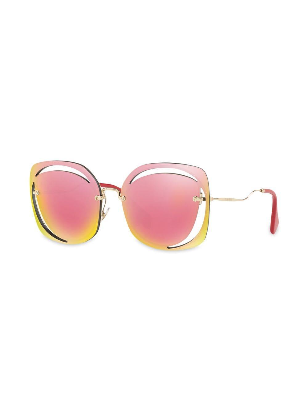 a8ec2865bfd Lyst - Miu Miu Cut Out Sunglasses in Pink