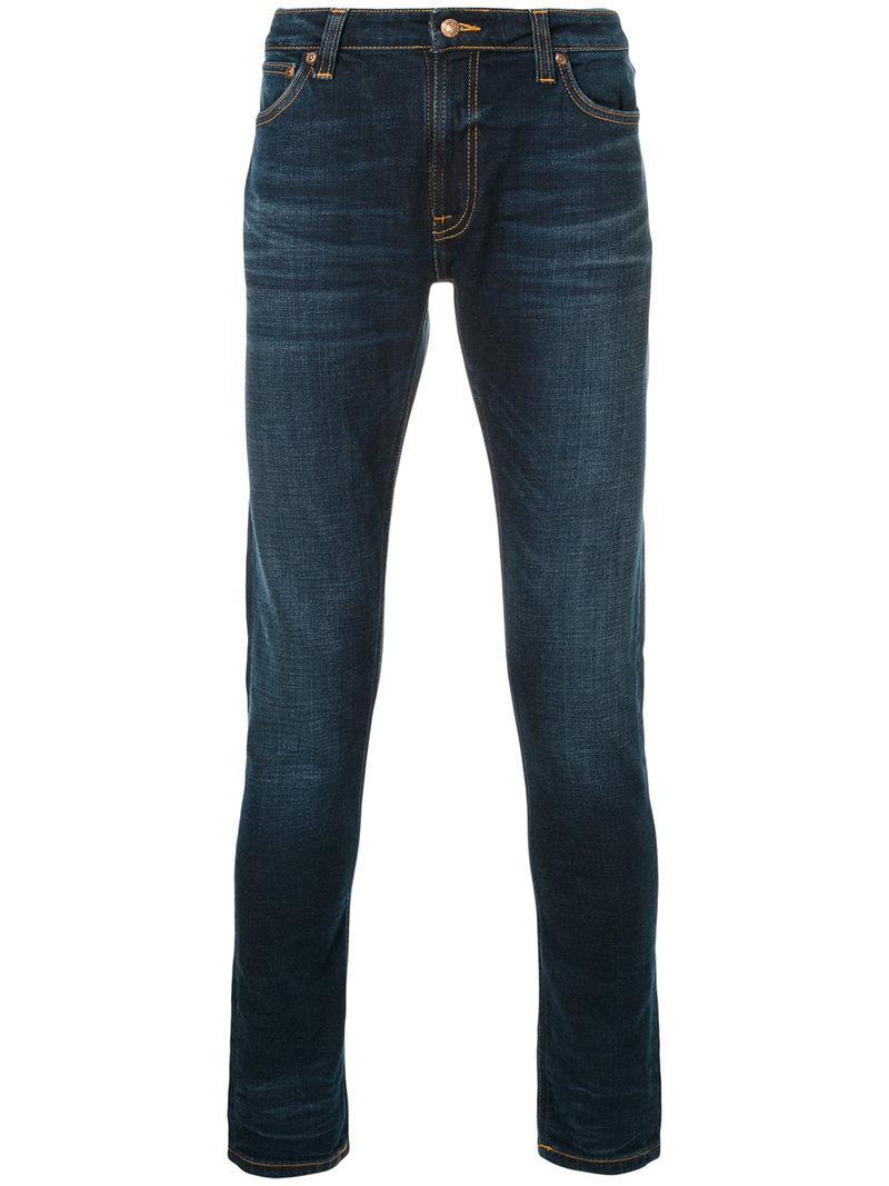 lyst nudie jeans skinny lin jeans in blue for men. Black Bedroom Furniture Sets. Home Design Ideas