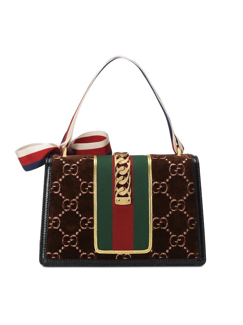 Sylvie GG velvet small shoulder bag - Brown Gucci gHNAsnGyJW