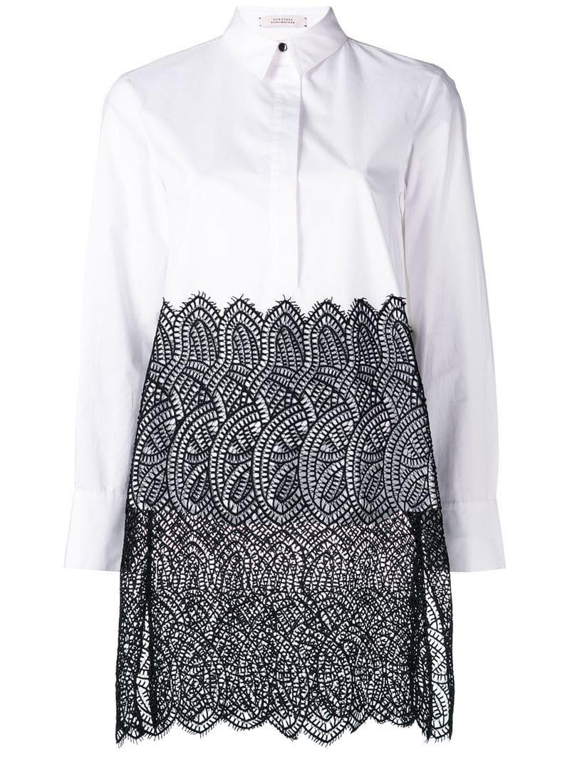 9c777e827c316 Dorothee Schumacher Lace Panel Blouse in White - Lyst