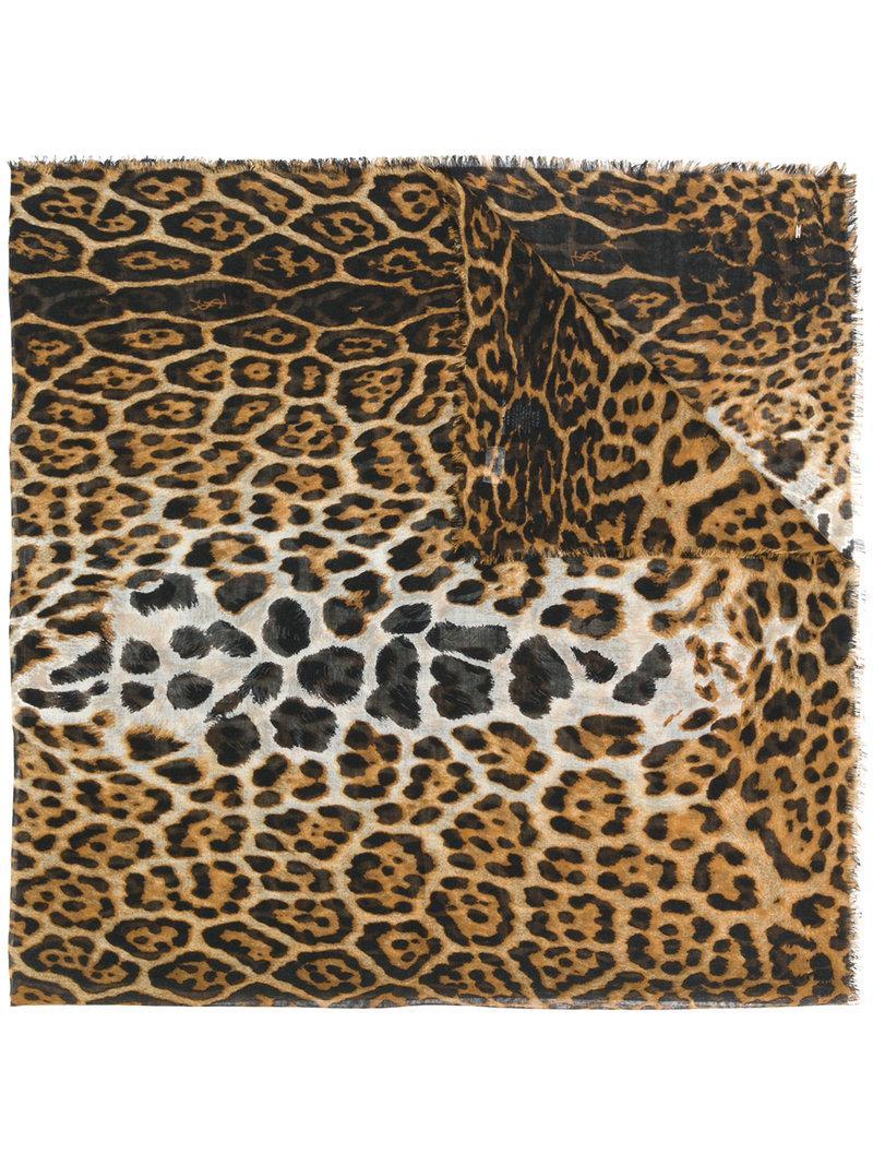114c37419ab0a Lyst - Écharpe à motif léopard Saint Laurent en coloris Marron