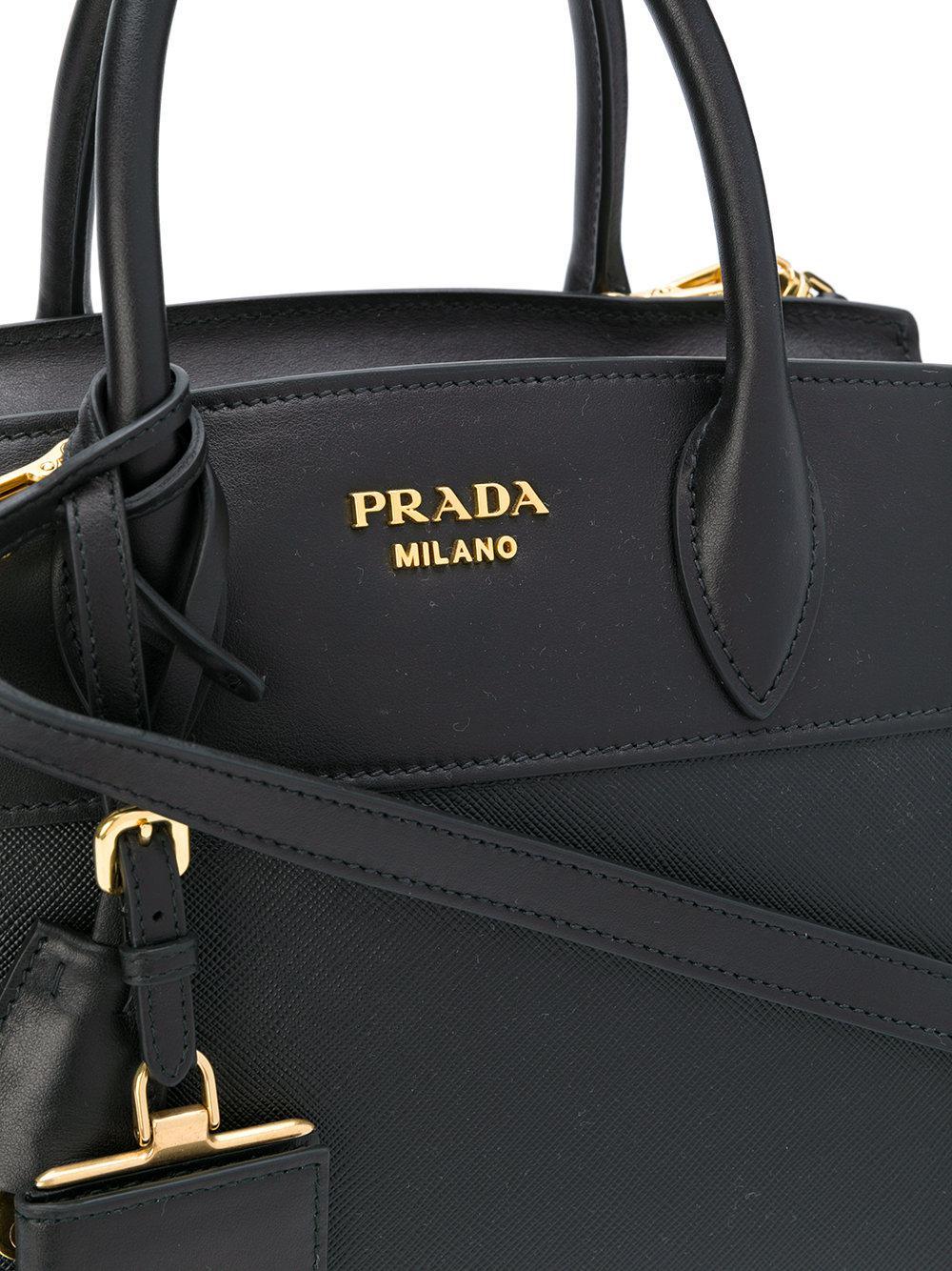 4cbef5c2fe Prada - Black Bibliotheque Medium Tote Bag - Lyst. View fullscreen