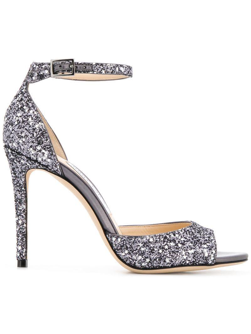 f22806fa5144 Lyst - Jimmy Choo Star Coarse Glitter Slingbacks in Metallic - Save 64%