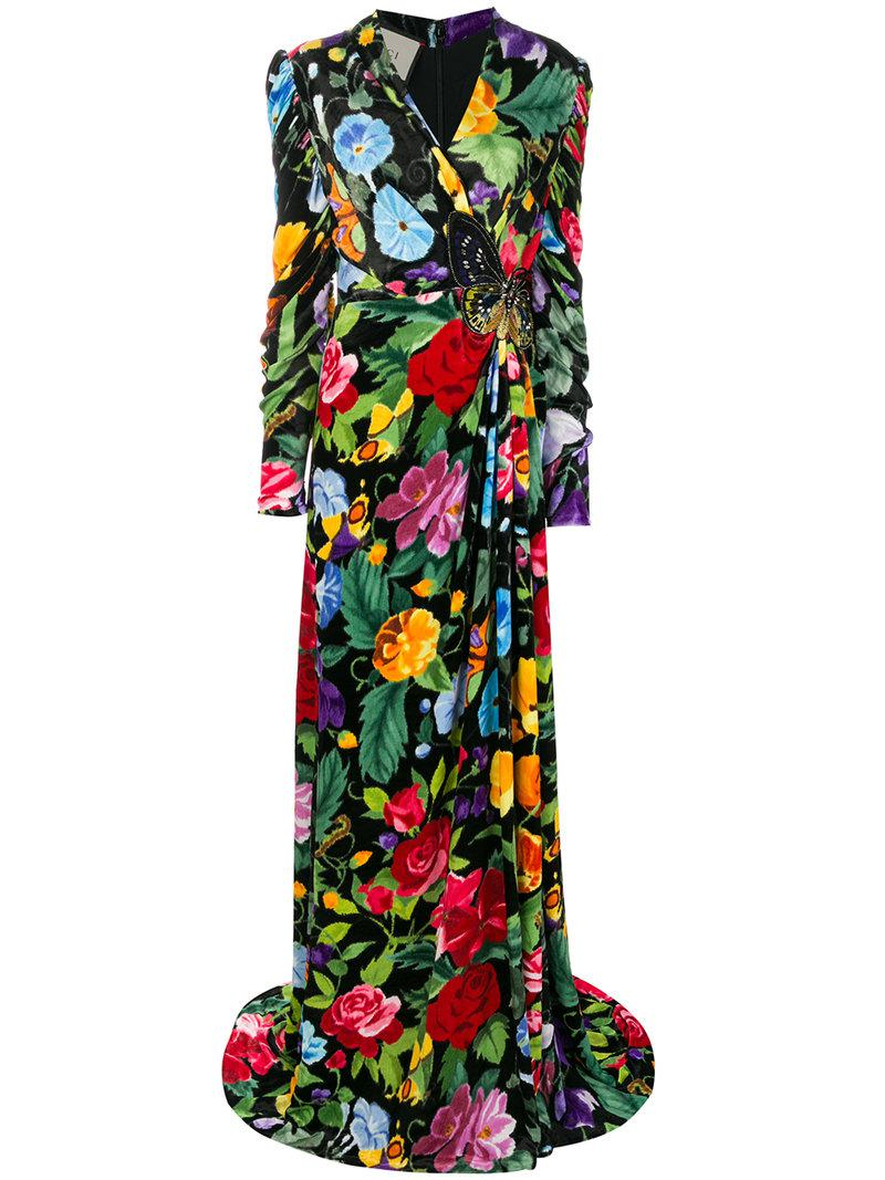 Gucci Floral Evening Gown - Lyst