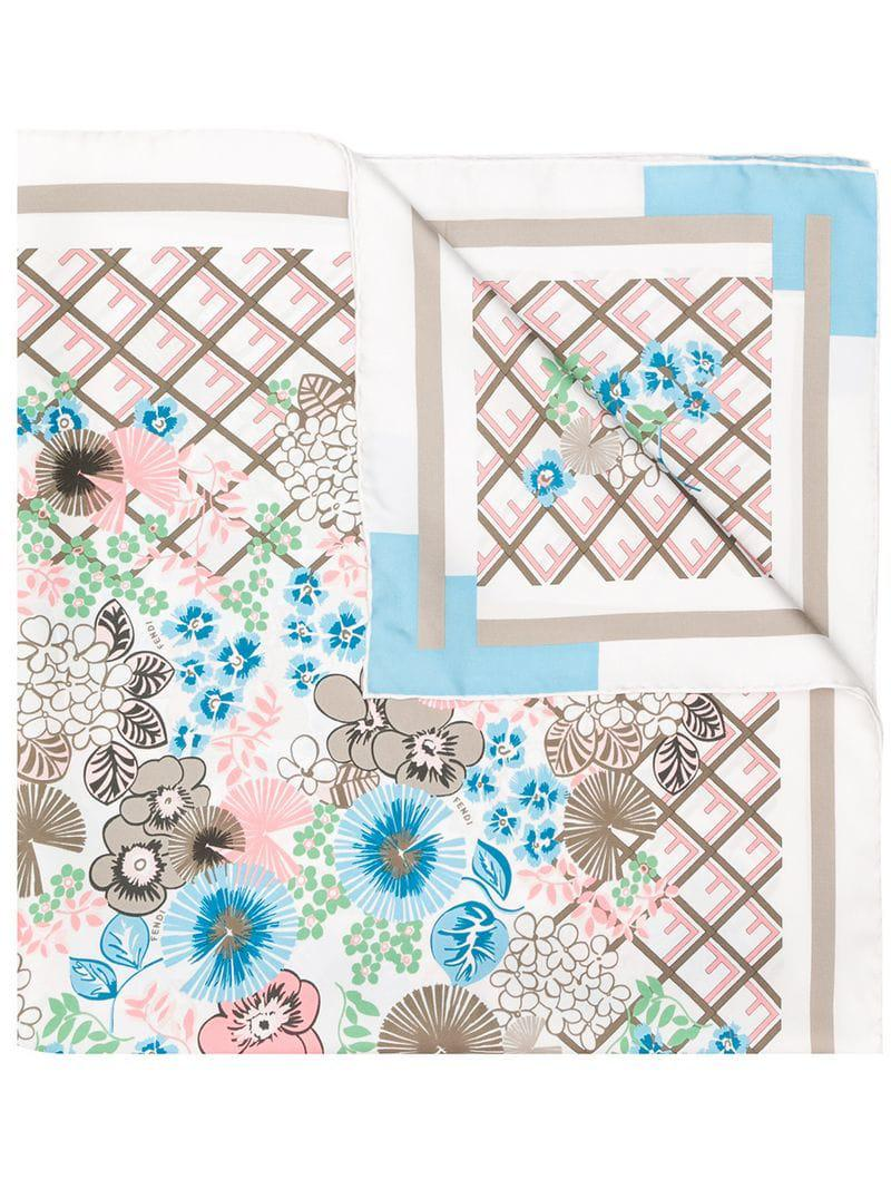 a36996aa844 Lyst - Fendi Floral Print Foulard in White