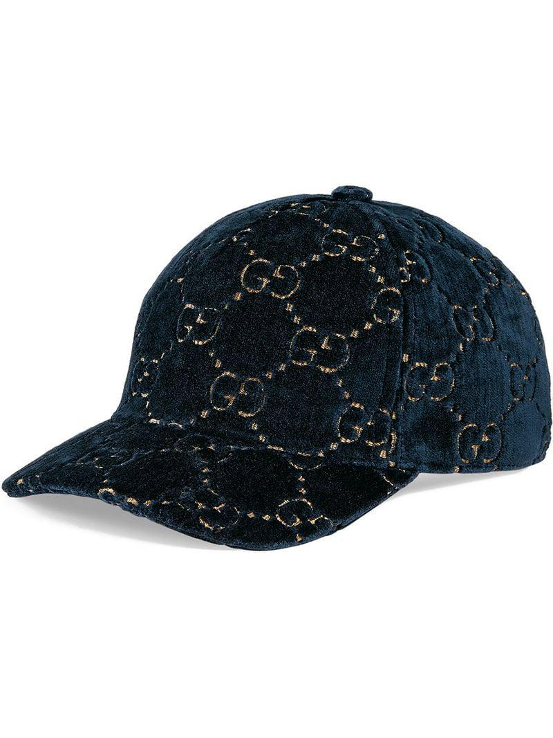 d5c98d46a04ef Lyst - Gucci GG Velvet Baseball Cap in Blue - Save 44%