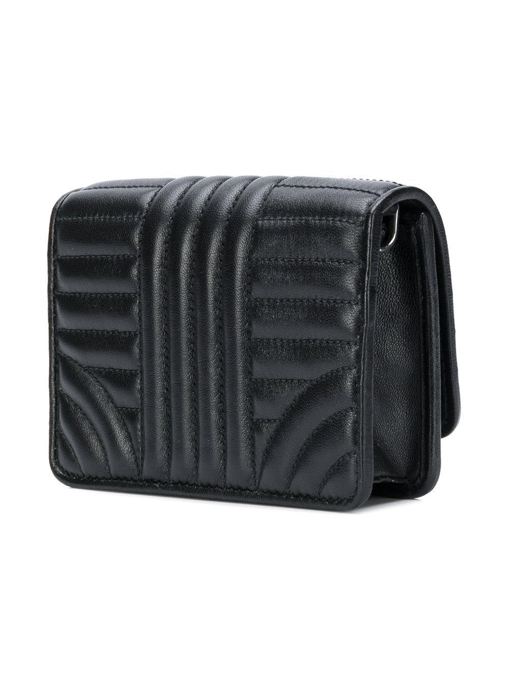 cf3dc8e06441 Prada Logo Quilted Shoulder Bag in Black - Lyst