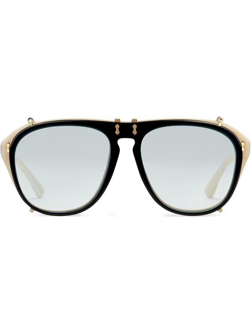 a8567da3a6a Lyst - Gucci Aviator Acetate Sunglasses in Metallic for Men