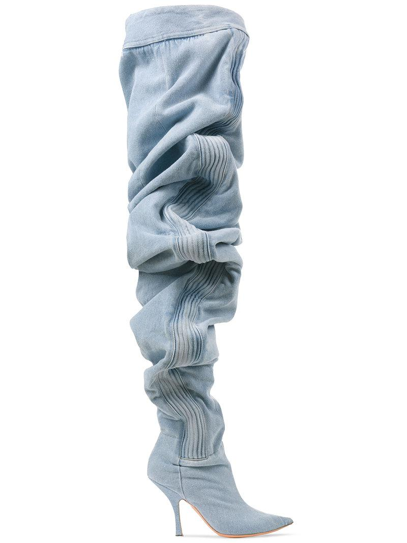 110 Thigh-High Ruched Denim Boots - Blue Y / Project QSg4lY