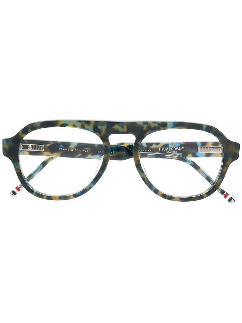 897fb3532db Lyst - Thom Browne Navy Tortoise Glasses in Blue for Men