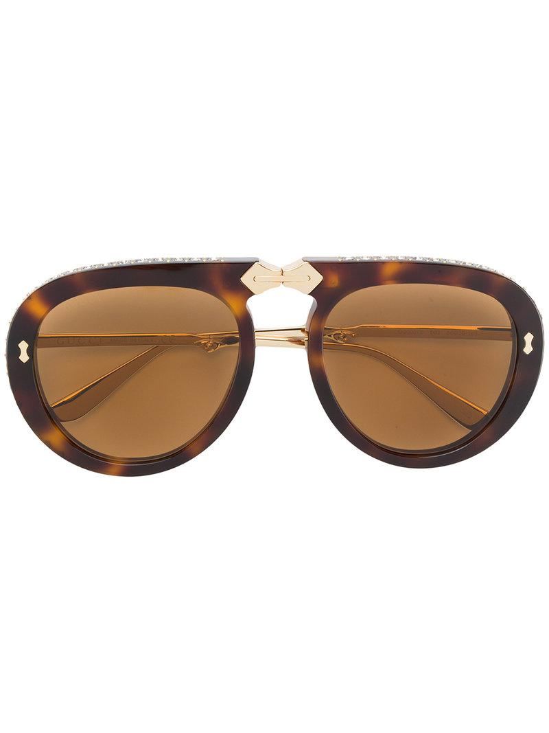 b3a08eeb01 Gucci Aviator Foldable Sunglasses in Brown - Lyst