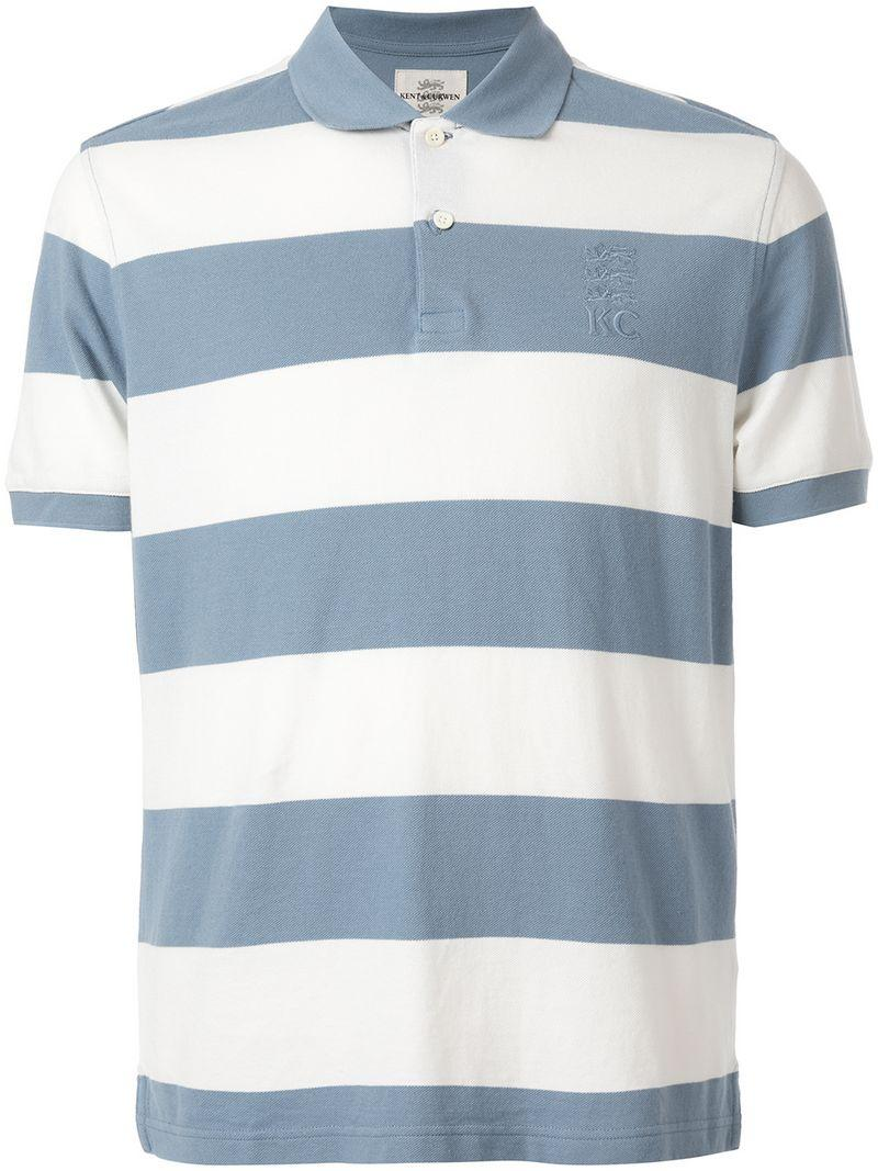 80cc42014 Kent & Curwen Striped Polo Shirt in Blue for Men - Lyst