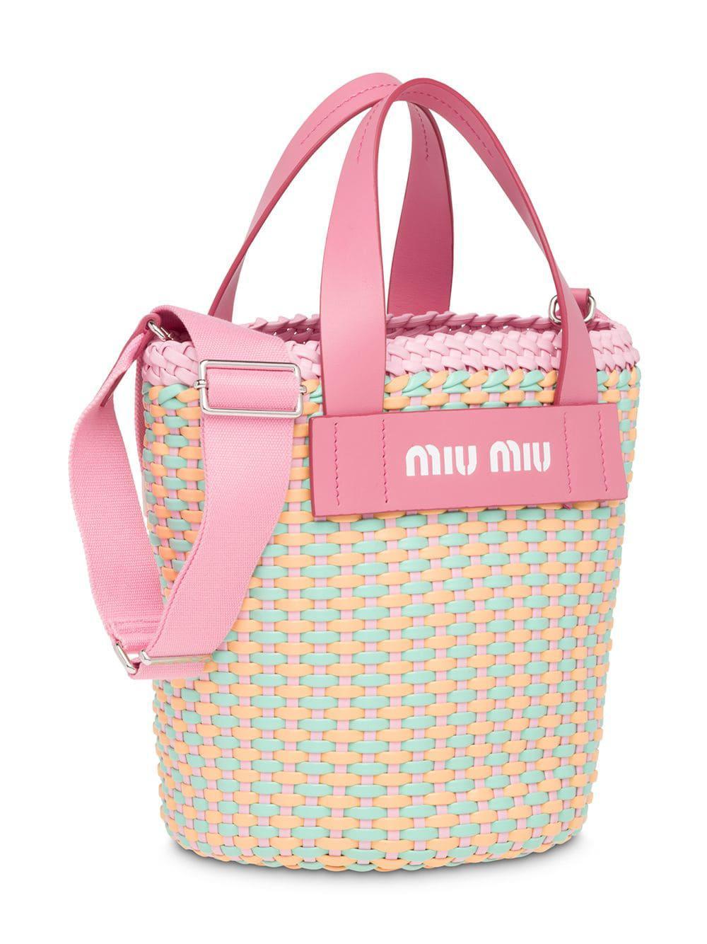 Lyst - Miu Miu Woven Bucket Bag in Pink 980d2c5c4cb54