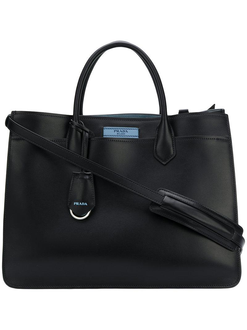 logo tote bag - Black Prada
