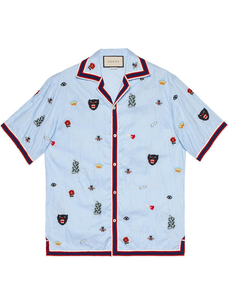 d3255a0dbd8 Lyst - Gucci Embroidered Cotton Bowling Shirt in Blue for Men