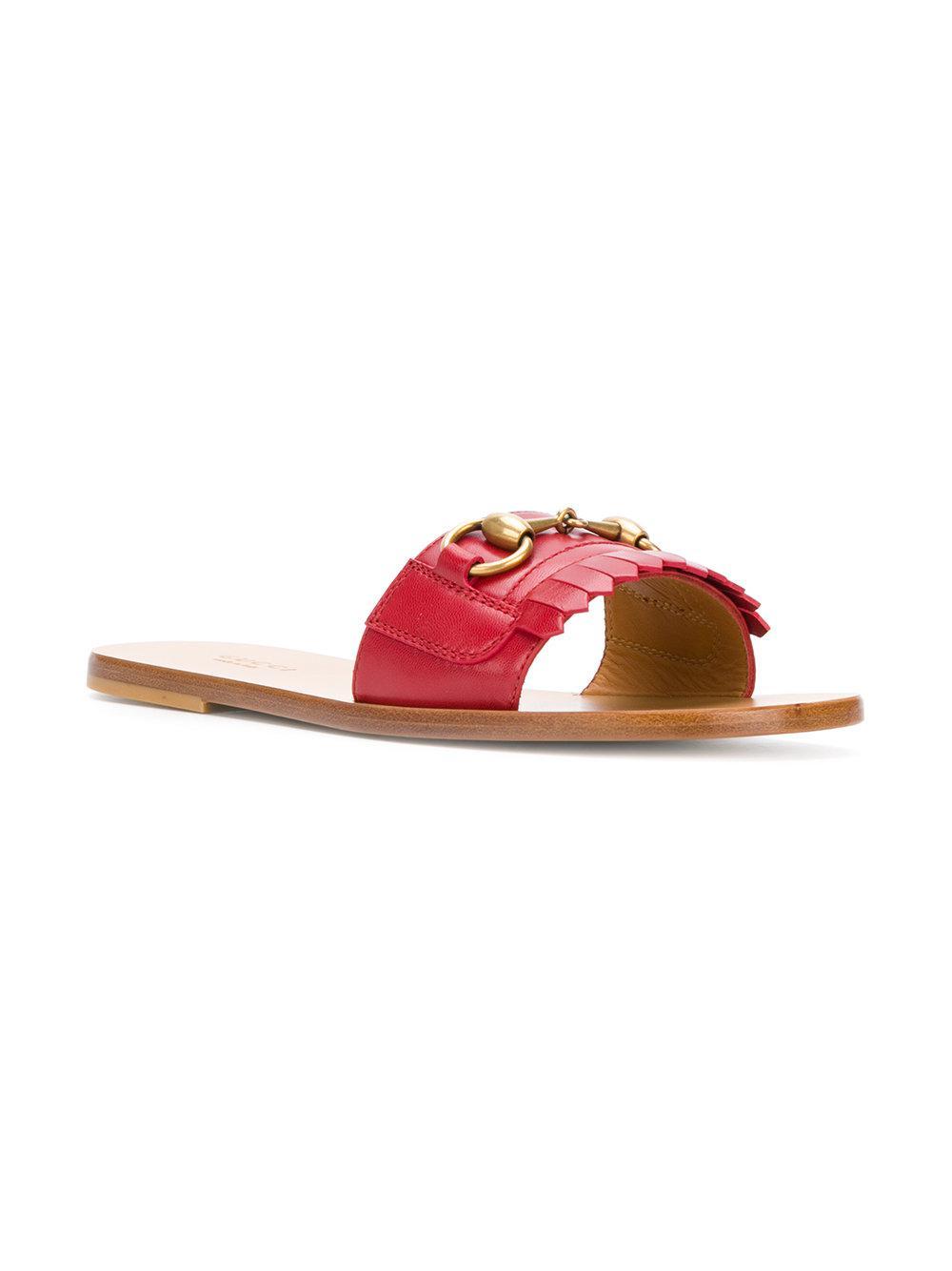 0f5bcf7c712015 Gucci - Red Open Toe Sandals - Lyst. View fullscreen