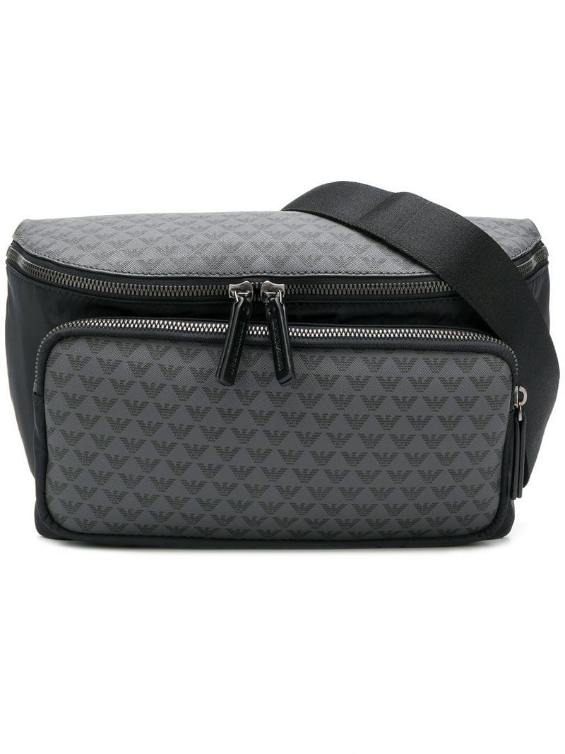 b889d9c909 Emporio Armani Logo Print Bum Bag in Gray for Men - Lyst
