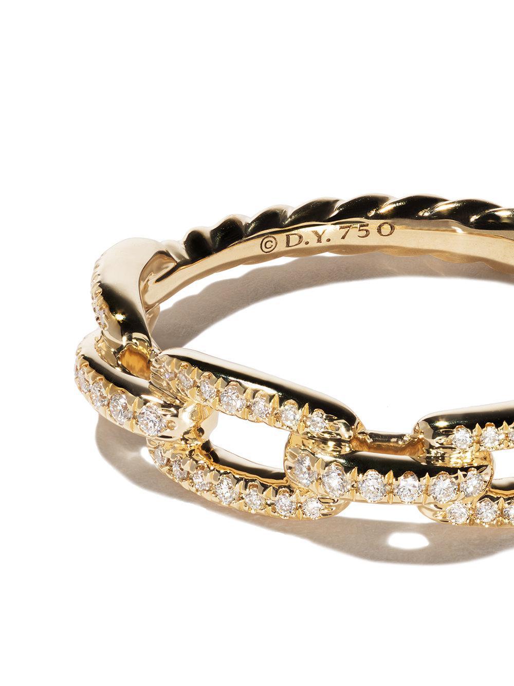 David Yurman 18kt yellow gold Stax single row pavé diamond chain link ring - Metallic z41Jge